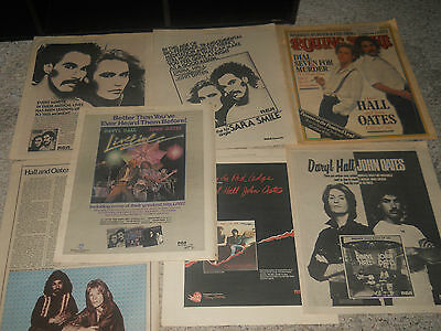 Vintage 7 Lot Daryl Hall And Oates Records Ad Cover Article Poster Pinup Albums