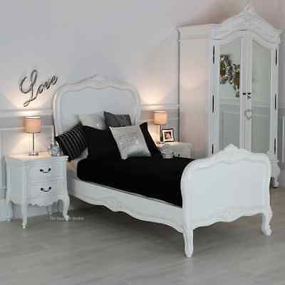 French Chateau White Single 3ft Painted Panel Bed - Bedroom Furniture SAN02-W3