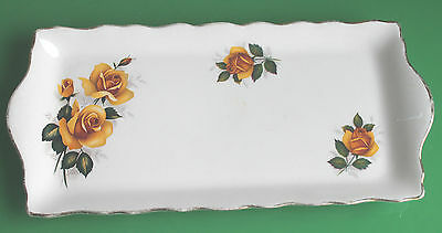 Old Foley Porcelain Sandwich Plate / Cake Tray depicting Yellow Roses c.1940