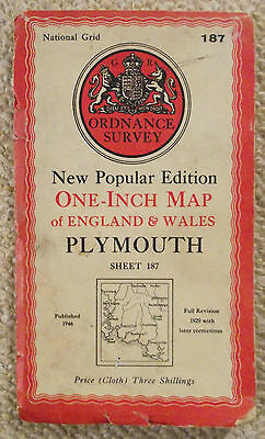 A Vintage 1946 Ordnance Survey Map Of Plymouth