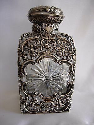 C. 1903 English London Silver Repousse Overlayed Glass Scent Bottle