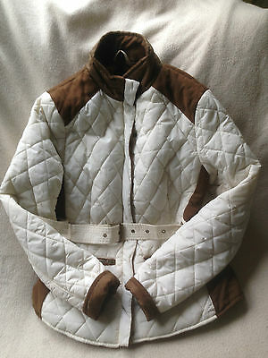 Girls Cream & Brown Suede Quilted Jacket Age 10-11