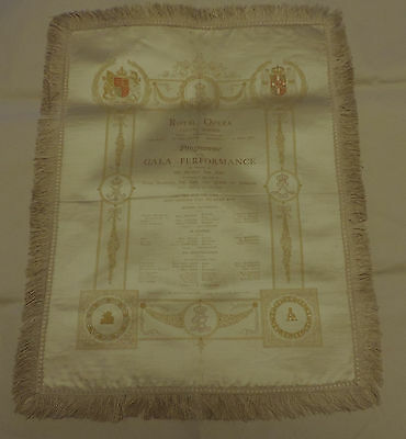 Antique Royal Opera Gala performance Silk Programme 1907. (Caruso)