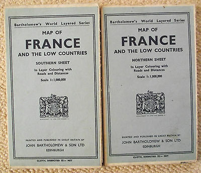 TWO VINTAGE EARLY 20thc BARTHOLOMEWS WORLD LAYERED SERIES MAP OF N&S FRANCE