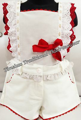 New Christmas Spanish Ruffle Red Shirt & Shorts Outfit Set 3,8 Years