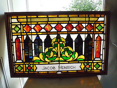 Antique Vtg Church Stained Glass Window Architectural Salvage Gothic Arches E42