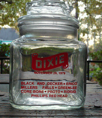 Vintage DIXIE GLASS JAR&LID Candy Apothecary Display Advertising Jar RED LETTERs
