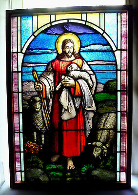Antique Vtg Church Stained Glass Window Architectural Salvage Jesus as Shepherd