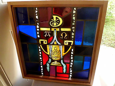 Antique Vtg Church Stained Glass Window Architectural Salvage Virgin Mary 167Q