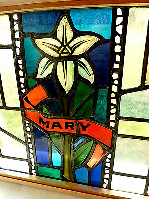 Antique Vtg Church Stained Glass Window Architectural Salvage Virgin Mary 167C