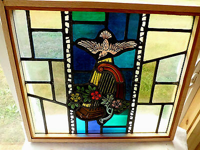 Antique Vtg Church Stained Glass Window Architectural Salvage Virgin Mary 167D