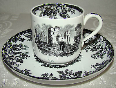 Antique Copeland Coffee Can Style Demitasse Espresso Cup & Saucer # 1