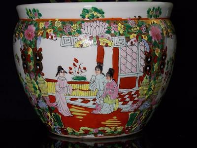 Home Garden Decor Chinese Famille Rose Fish Bowl Planter Jardiniere