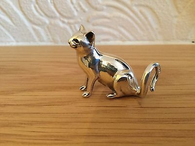 Solid Silver Sitting Cat Fully Hallmarked