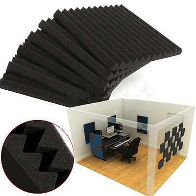 """12 Pack Acoustic Foam Panel Wedge Studio Soundproofing Wall Tiles 12"""" X 12"""" X 1"""""""