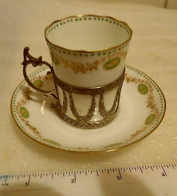 Harrods Cup & Saucer In Solid Silver Holder B/ham 1906.