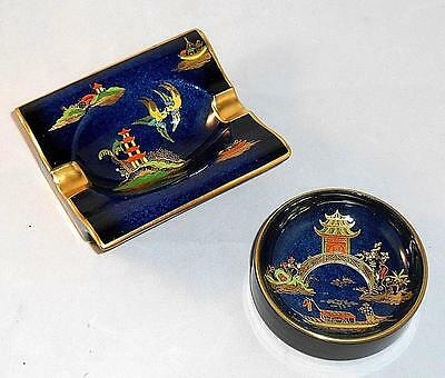 Carlton Ware 'royale Blue' Pagoda Ash Tray & Small Dish