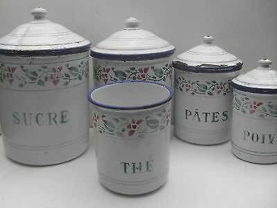 Antique French Enamelware Graniteware 5 Canisters in WHITE with Green Lettering