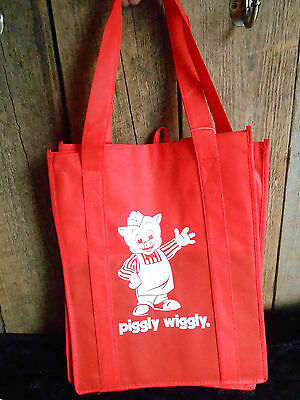New with Tag Collectible PIGGLY WIGGLY Red and WHITE  SHOPPING BAG
