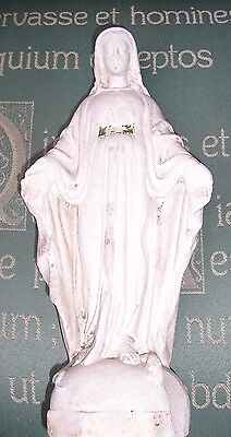 Vintage Virgin Mary Statue  Old Plaster  Good Condition 11 Ins High