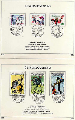 Birds - 1972 Czechoslovakia First Day Of Issue Cards