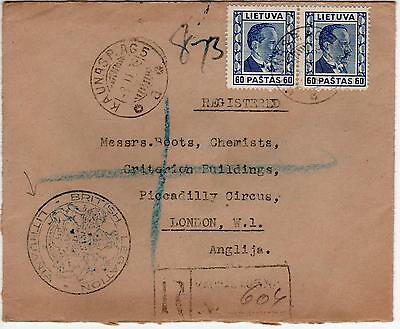 """Lithuania - 1938 Registered Cover From """"british Legation"""" - Scarce"""
