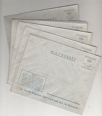"Sweden - Ww2 ""military"" Stationery Envelopes X 10"