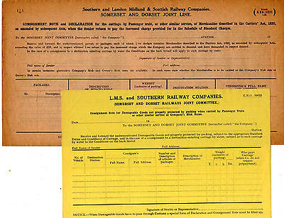 RAILWAY FORMS-L.M.S./SOUTHERN RAILWAY COMPANIES - c.1930's