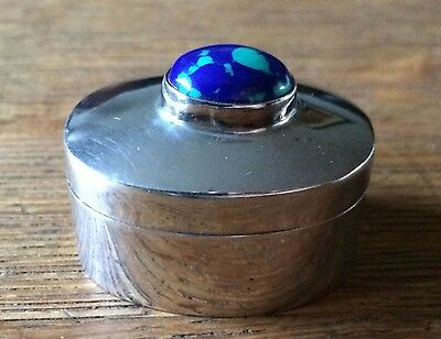 Vintage Mexican Sterling Silver Azurite Malachite Cabochon Pill Snuff Box LOVELY