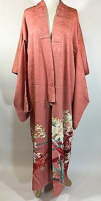 Vintage Silk Kimono Salmon Color with Floral Hemline (stained)
