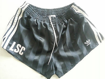Adidas Vintage 80's Black Nylon Shorts Made In West Germany D6
