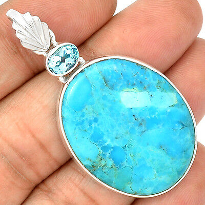 Sleeping Beauty Turquoise 925 Sterling Silver Pendant Jewelry SP201735