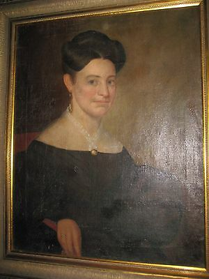 ANTIQUE 19th century AMERICAN OIL PORTRAIT OF A SEATED YOUNG BLUE EYED LADY
