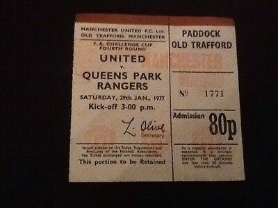 MANCHESTER UNITED V QUEENS PARK RANGERS - FA CUP 4th ROUND - MATCH TICKET