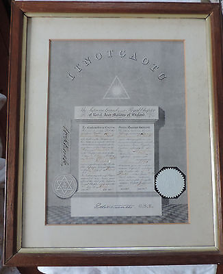 Antique Framed Masonic Certificate Dated 1903. Royal Arch Masons of England