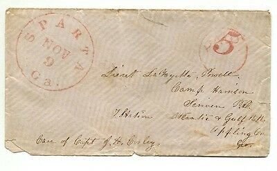 SPARTA Ga. NOV 9 1861 PAID 5 DT IVA all in RED great military address RARE!!