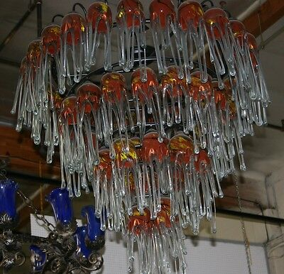 Art Deco  Wrought  Iron Chandelier & 54  Multi Color Glass Shades Hand Made