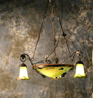 Art Deco Handmade Wrought  Iron Chandelier & Green Glass Shades Europe Post 1940