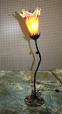 Art Deco Hand Made Wrought Iron Table Lamp & Blown  Glass  Shade Multi Color