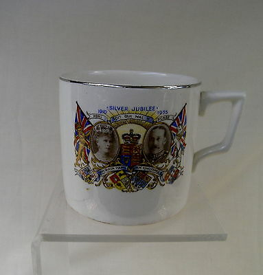 Vintage Queen Mary and George V Silver Jubilee 1935 Commemorative China Mug