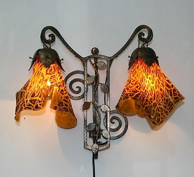 Art Deco Style Handmade Wrought Iron Sconces & Blown  Glass Shades Romania