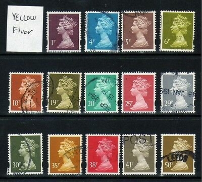 Machin definitives with Yellow Fluor phosphor bands