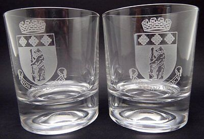 """Lovely Pair of Warwick Crystal Cut Glass Tumblers/Glasses """"Bear And Staff"""" Boxed"""