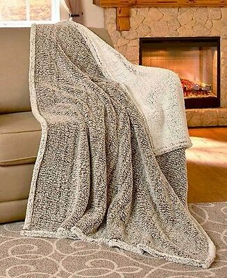 Brown Reversible Arctic Sherpa Throw Blanket Warm Soft Bed Sofa Chair Home Decor