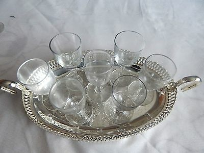 """9"""" silver plated serving plate with 7 small glasses"""