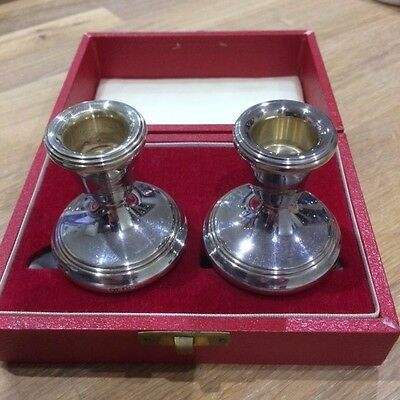 Pair Antique Silver candle holders in original gift box