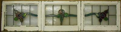"SET OF  3 OLD ENGLISH LEADED STAINED GLASS WINDOWS Beautiful Floral  64"" x 16.25"