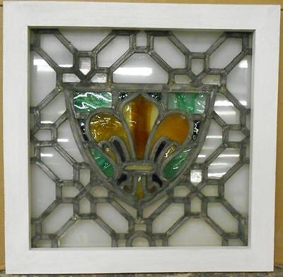 "OLD ENGLISH LEADED STAINED GLASS WINDOW Fleur de lis Shield 21.75"" x 21.25"""