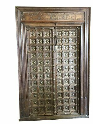 Antique Gothic Medieval Doors Brass Carved Indian Castle Teak Wood Double Doors
