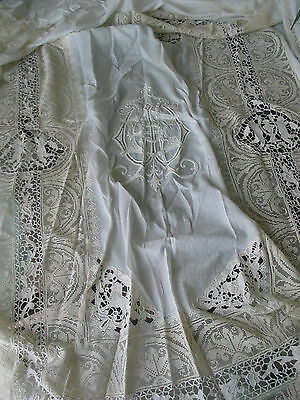 Italian French 19th Century Cotton Handmade Lace Embroidered Bedspread Coverlet
